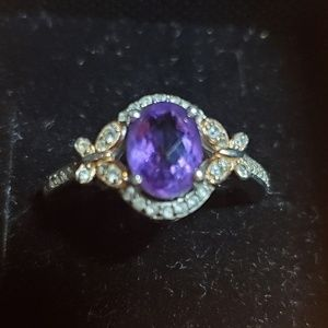 Genuine amythst sterling silver ring